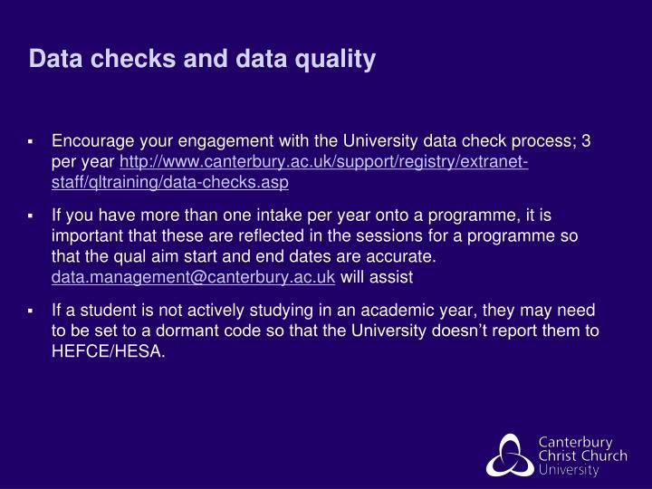 Data checks and data quality
