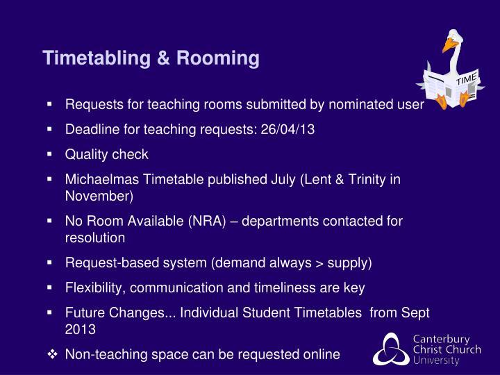 Timetabling & Rooming