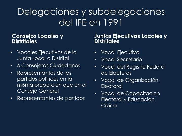 Delegaciones y subdelegaciones del IFE en 1991