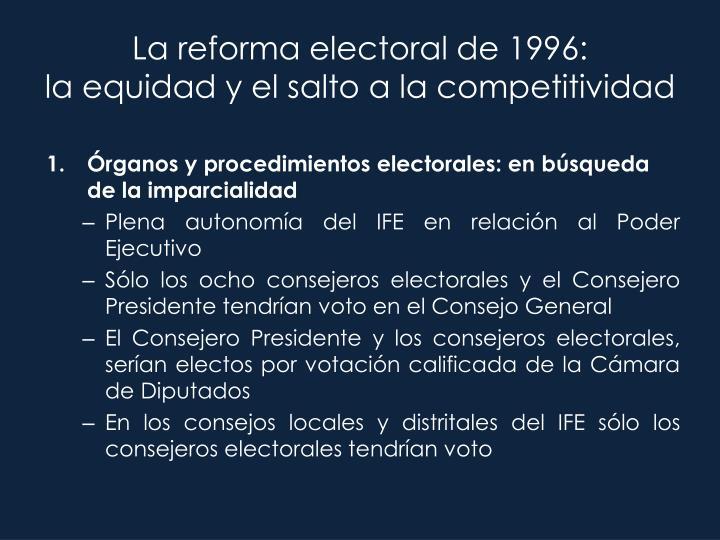 La reforma electoral de 1996:
