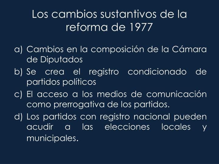 Los cambios sustantivos de la reforma de 1977