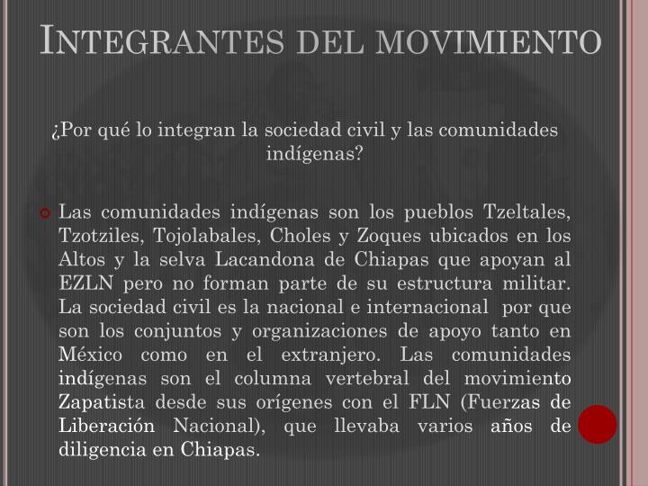 Integrantes del movimiento