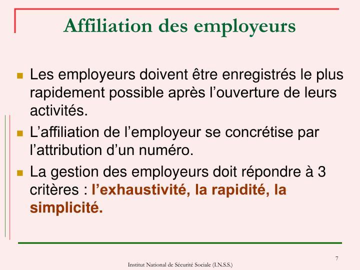 Affiliation des employeurs
