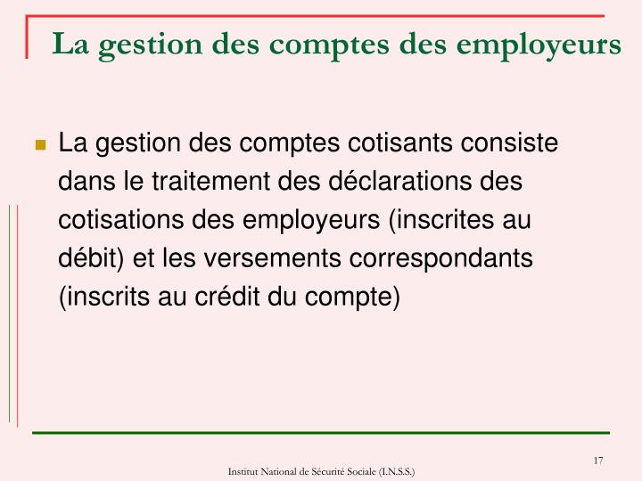 La gestion des comptes des employeurs
