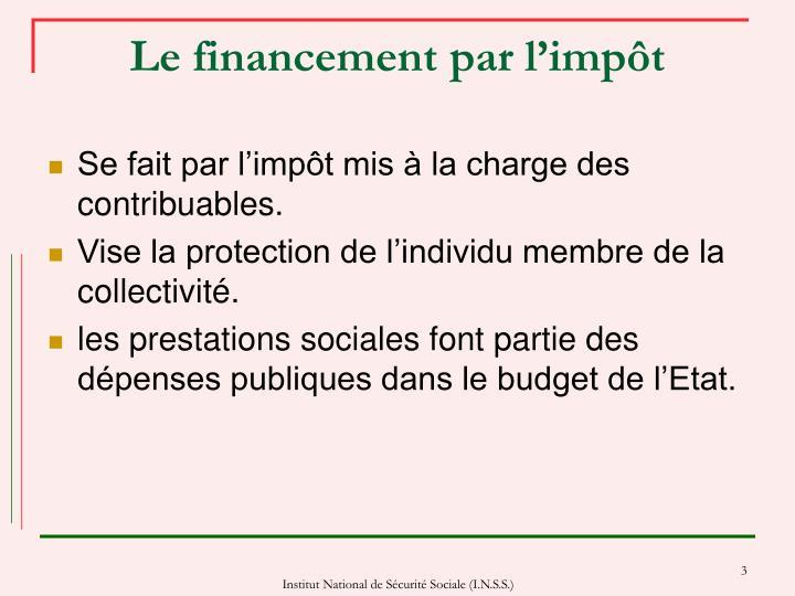 Le financement par l'impôt
