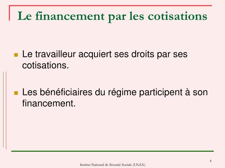 Le financement par les cotisations