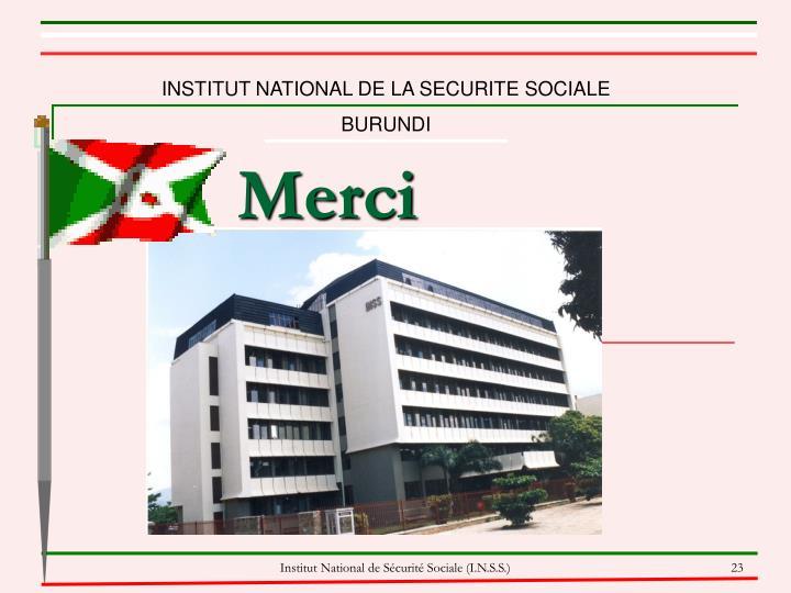 INSTITUT NATIONAL DE LA SECURITE SOCIALE