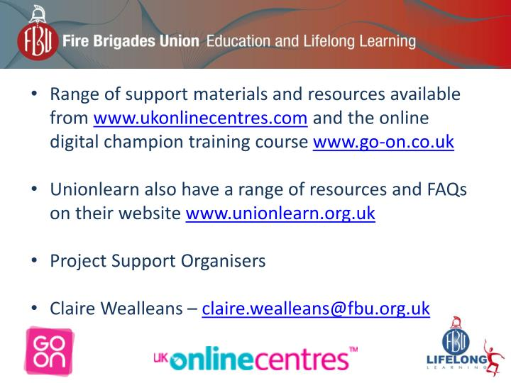 Range of support materials and resources available from