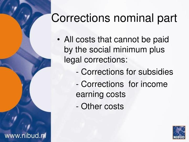 Corrections nominal part