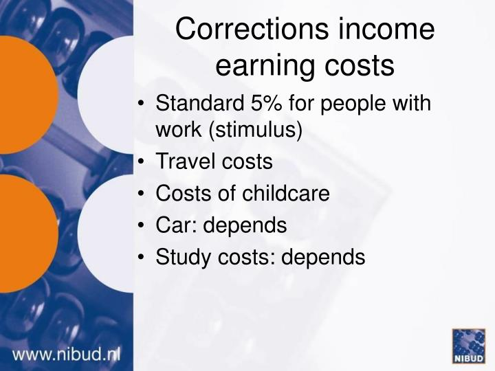 Corrections income earning costs