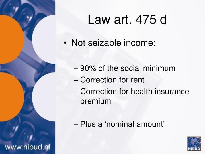 Law art. 475 d