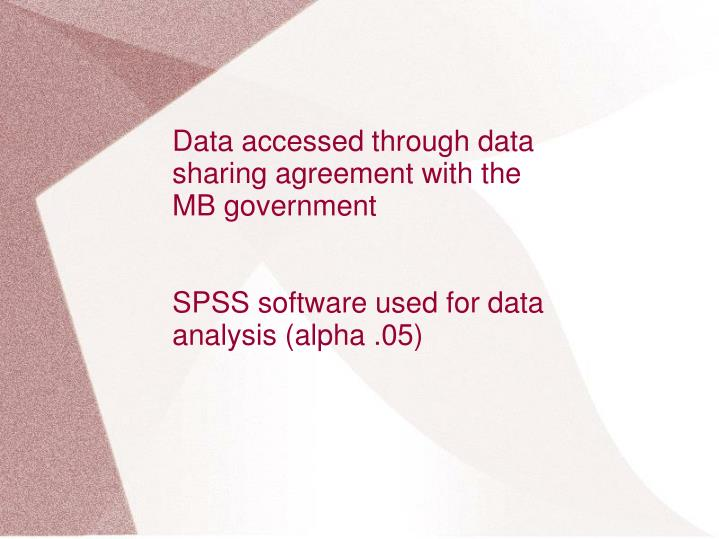 Data accessed through data sharing agreement with the MB government