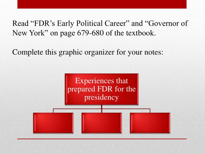 "Read ""FDR's Early Political Career"" and ""Governor of New York"" on page 679-680 of the textbook."