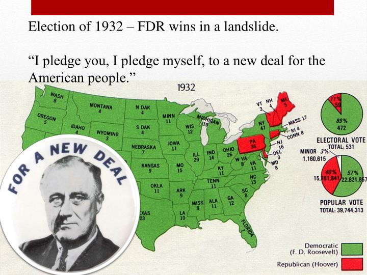 Election of 1932 – FDR wins in a landslide.