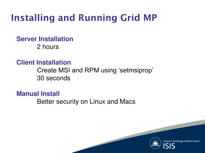 Installing and Running Grid MP