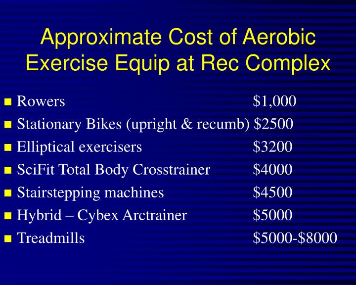 Approximate Cost of Aerobic Exercise Equip at Rec Complex
