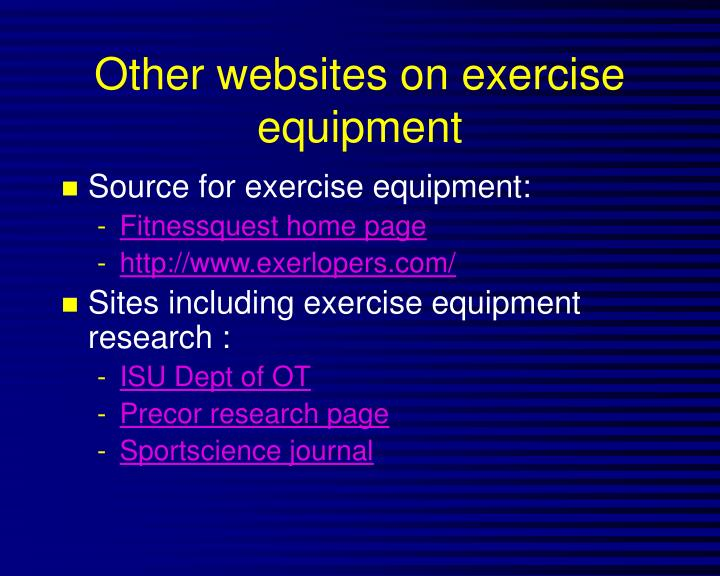 Other websites on exercise equipment