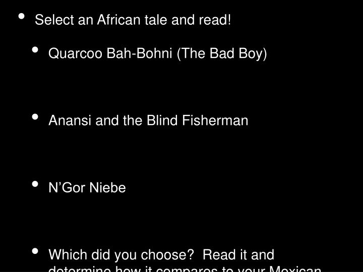 Select an African tale and read!