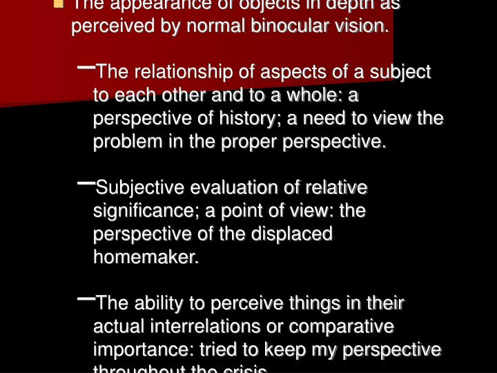 The appearance of objects in depth as perceived by normal binocular vision.