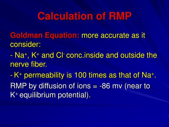 Calculation of RMP