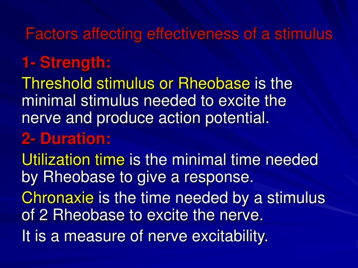 Factors affecting effectiveness of a stimulus