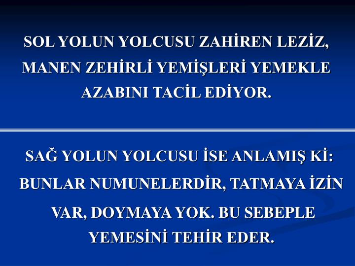 SOL YOLUN YOLCUSU ZAHİREN LEZİZ,