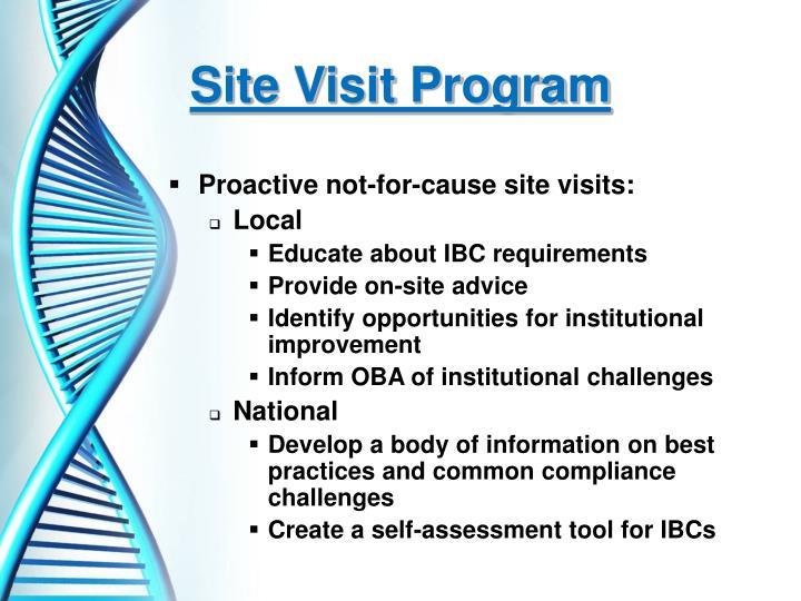 Site Visit Program