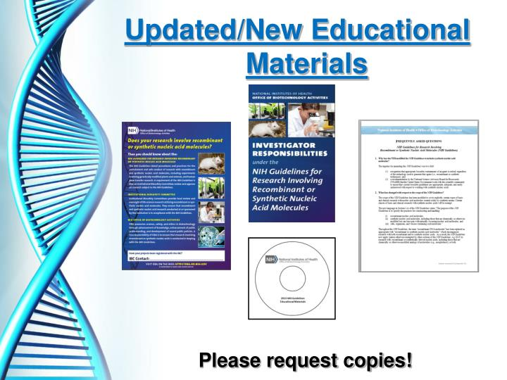 Updated/New Educational Materials