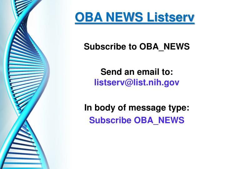 OBA NEWS Listserv