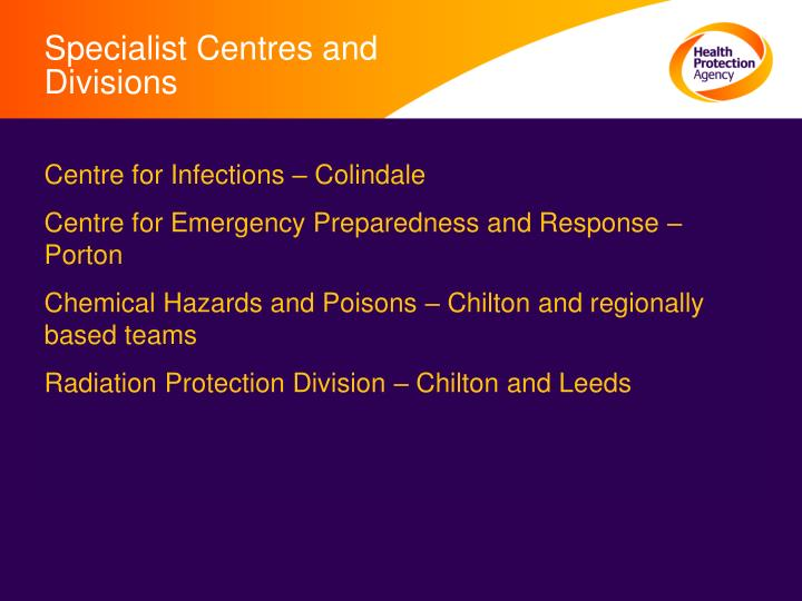 Specialist Centres and Divisions