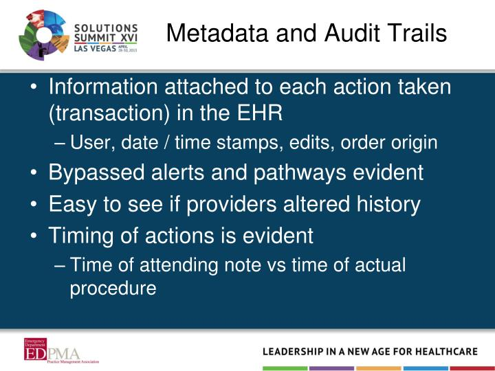 Metadata and Audit Trails