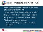 metadata and audit trails