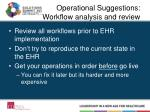 operational suggestions workflow analysis and review