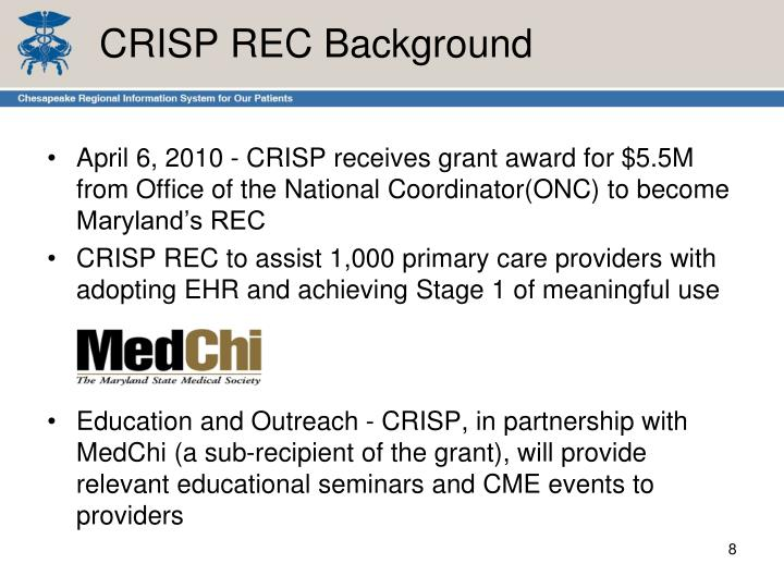 CRISP REC Background