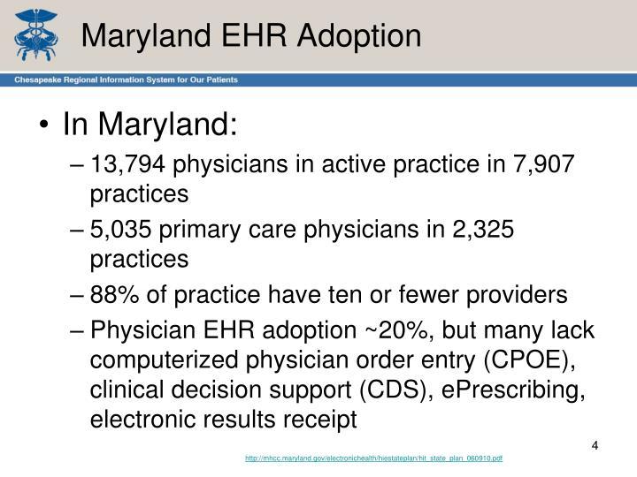 Maryland EHR Adoption