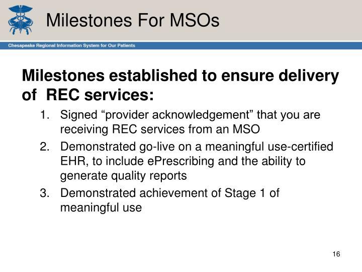 Milestones For MSOs