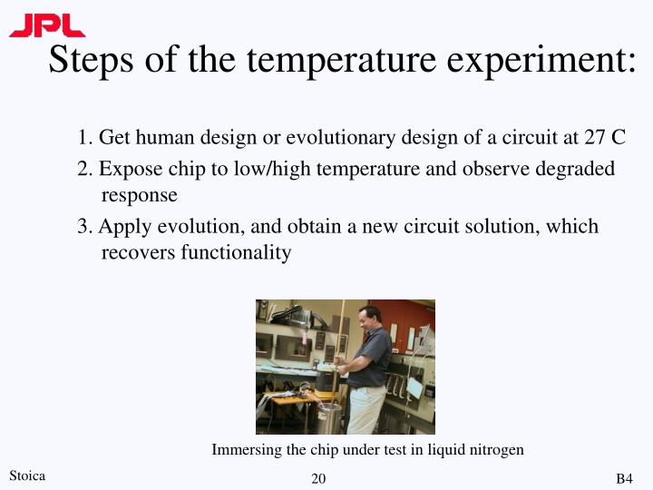 Steps of the temperature experiment:
