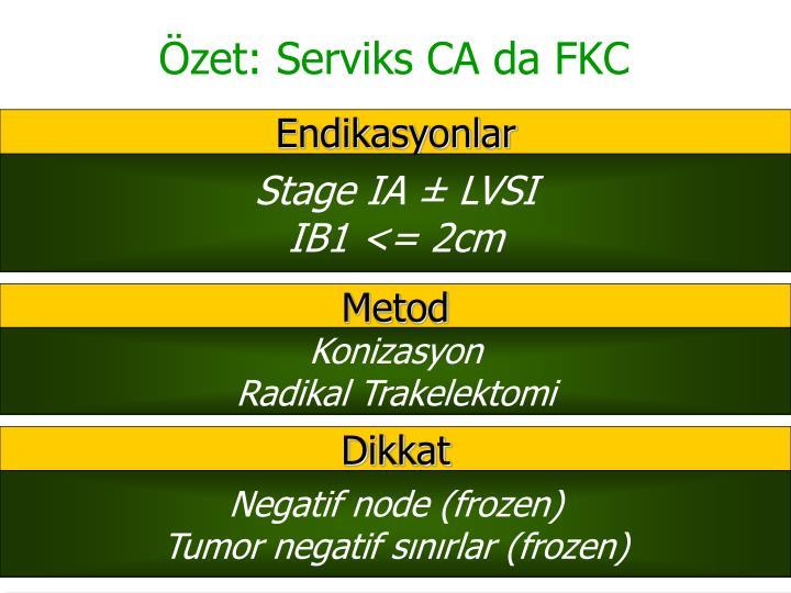 Özet: Serviks CA da FKC