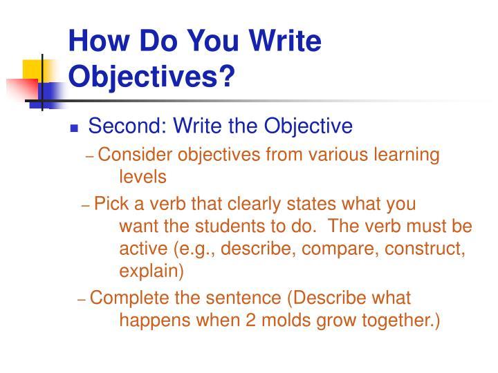 How Do You Write Objectives?
