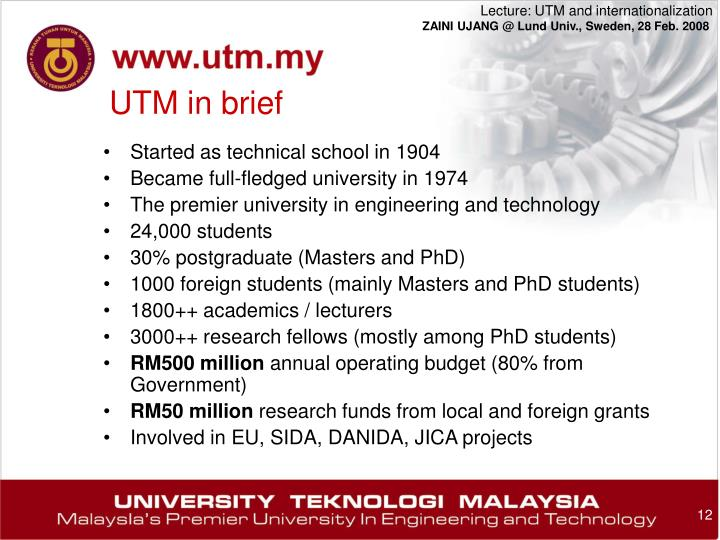 UTM in brief