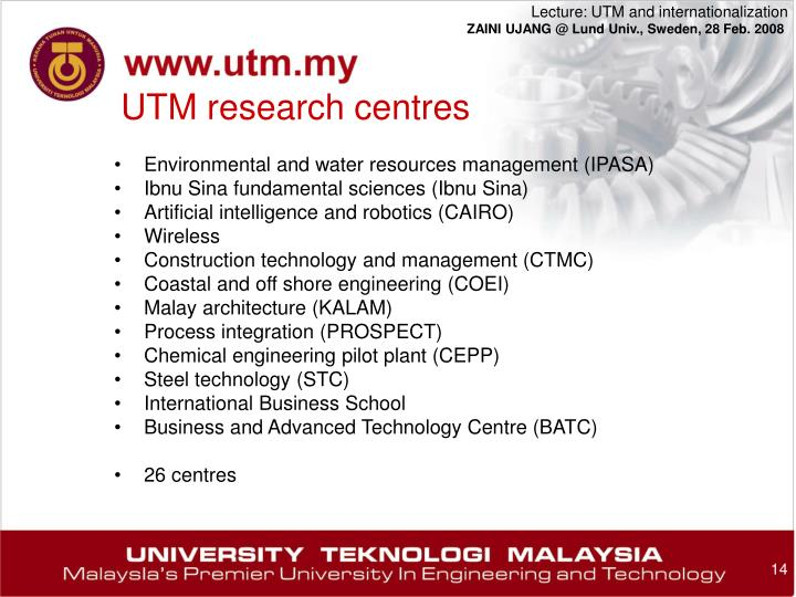 UTM research centres