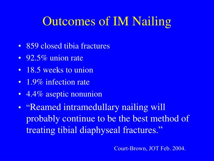 Outcomes of IM Nailing