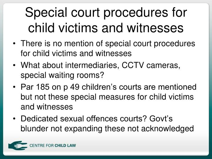 Special court procedures for child victims and witnesses