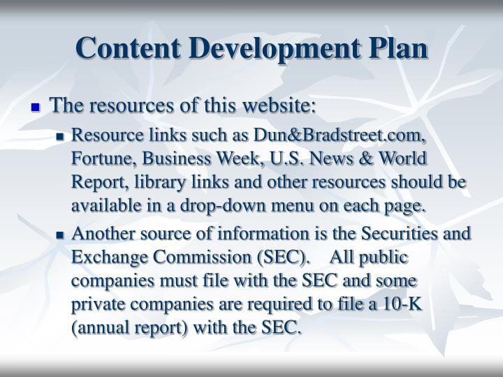 Content Development Plan