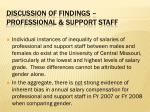 discussion of findings professional support staff