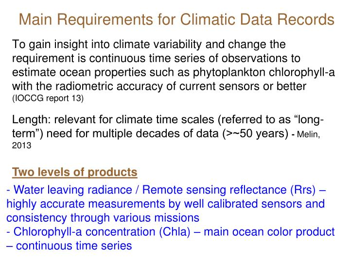 Main Requirements for Climatic Data Records