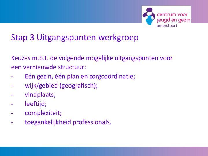 Stap 3 Uitgangspunten werkgroep