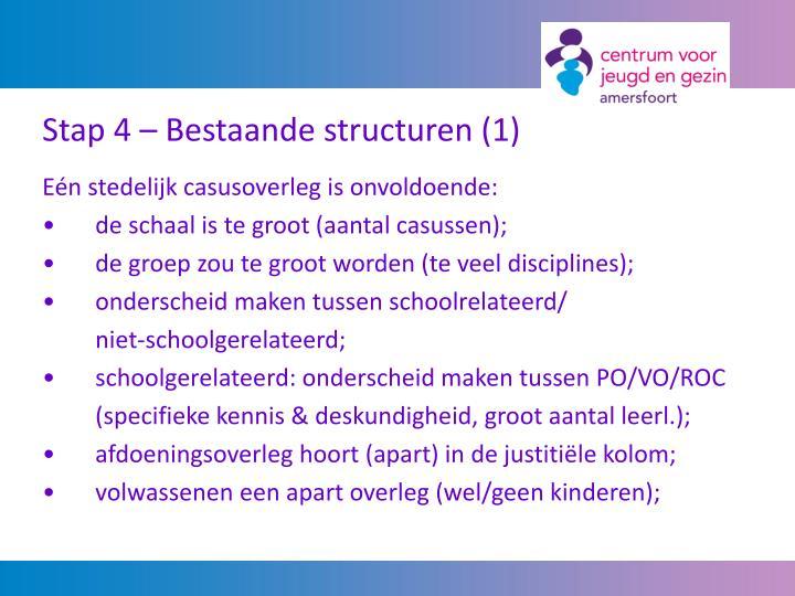 Stap 4 – Bestaande structuren (1)