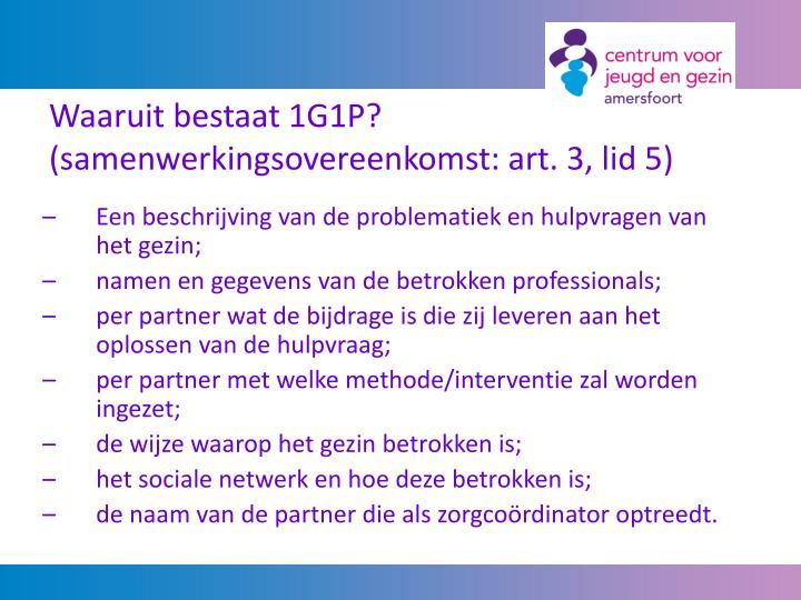 Waaruit bestaat 1G1P? (samenwerkingsovereenkomst: art. 3, lid 5)