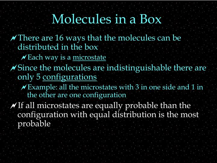 Molecules in a Box